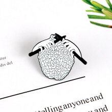 Hands Weaving the brain enamel pins Custom Punk Creative brooches Vintage black and white Lapel pin badge Shirt bag jewerly gift(China)