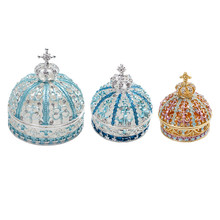 H&D 3 Sizes Crown Trinket Jewelry Box Hand-painted Hinged Metal Crafts Vintage Home Decor Novelty Wedding Favor Christmas Gifts