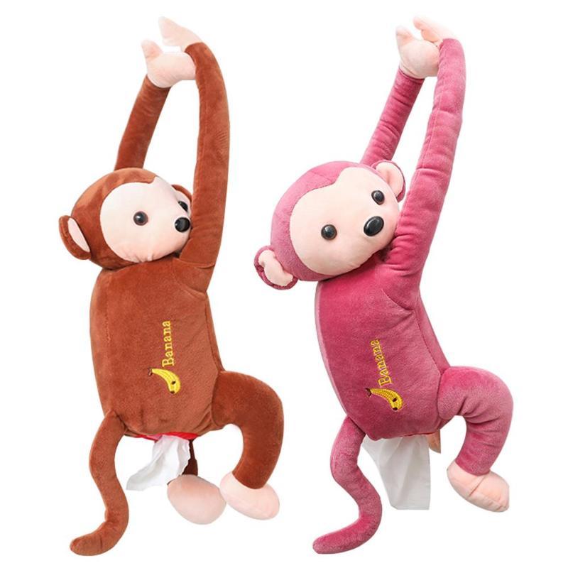 Cartoon Tissue Box Animal Monkey Car Hanging Paper Napkin Box Cover Holder