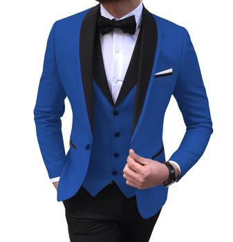 Blue Slit Mens Suits 3 Piece Black Shawl Lapel Casual Tuxedos for Wedding Groomsmen Suits Men 2020 (Blazer+Vest+Pant) 9