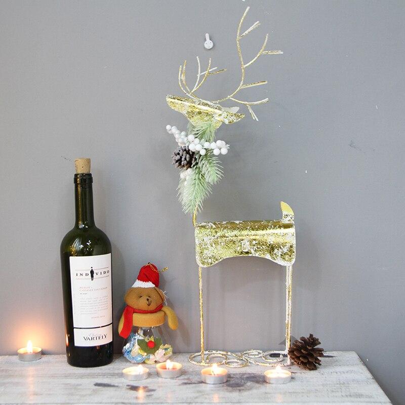 Ручная работа, Золотой Рождественский северный олень, украшение для дома, Рождественский Декор, вечерние украшения для праздничного салона - 2