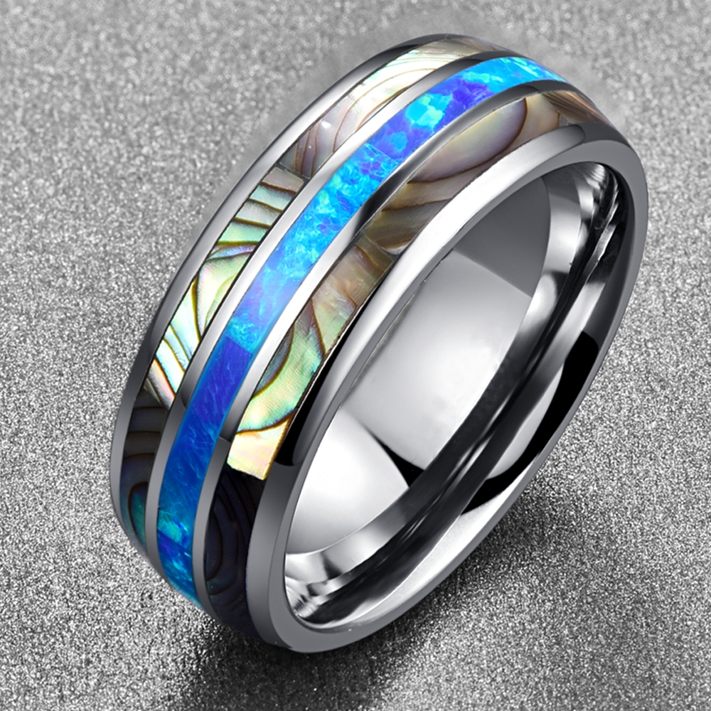 FDLK   8MM Wide Inlaid Shells Blue Opal Stainless Steel Men Rings Never Fade Engagement Ring Men's Jewelry Size 6-13