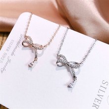 Exquisite Real 925 Sterling Silver Charming Bow-knot Pendant Necklaces Lasting Shine Chain and Zirconia Good-looking Rosette exquisite real 925 sterling silver charming bee pendant necklaces lasting shine cross chain and zirconia good looking daisy