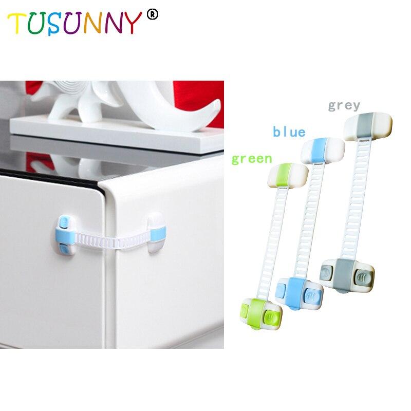 TUSUNNY Cabinet Door Drawers Refrigerator Toilet  Lock Lengthened Adjustable Lock Safety Plastic Locks For Child Kid Baby Safety