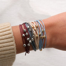 4pcs/set Bracelet Jewelry Handmade Wrap Geometric Alloy Beads Strands Leather Rope Woven