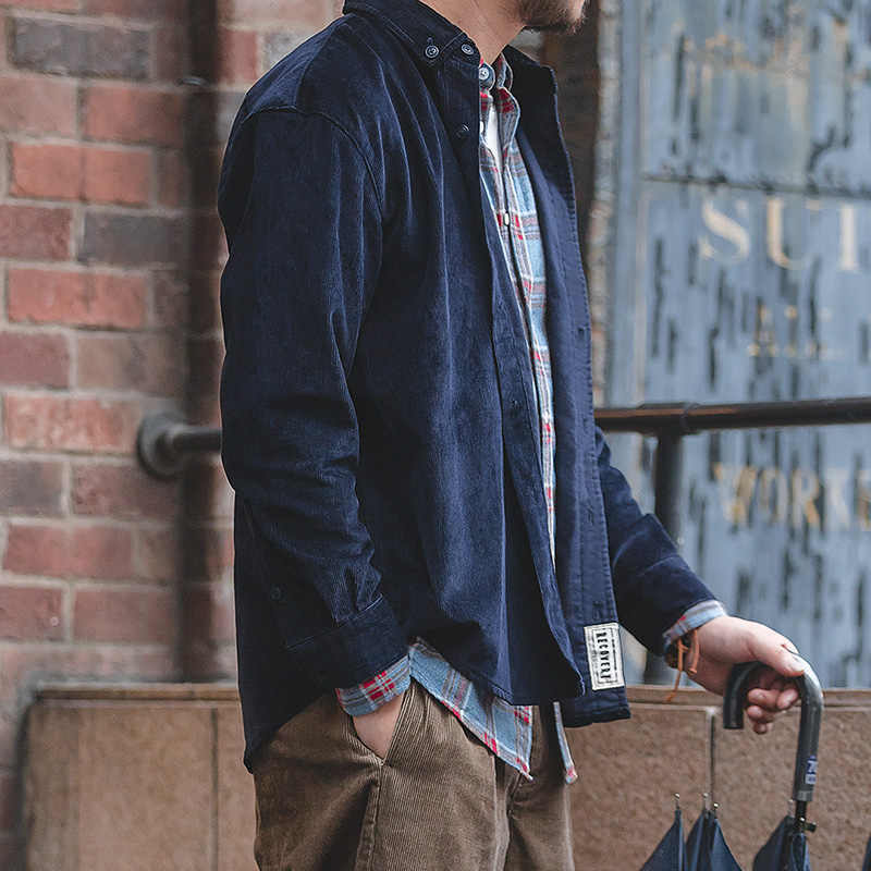 Camisa de pana gruesa con botones y manga larga para hombre con bolsillo