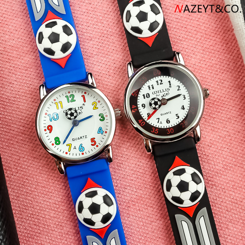 Dropshipping Children Waterproof Watch Little Boys Kids 3D Football Dial Soft Silicone Sports Wristwatch Imported Movement Clock