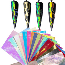 16Pcs/set Holographic Fire Flame Laser Neon Nail Hollow Stickers Colorful Designs 3d Manicure Stencil Decals NL50