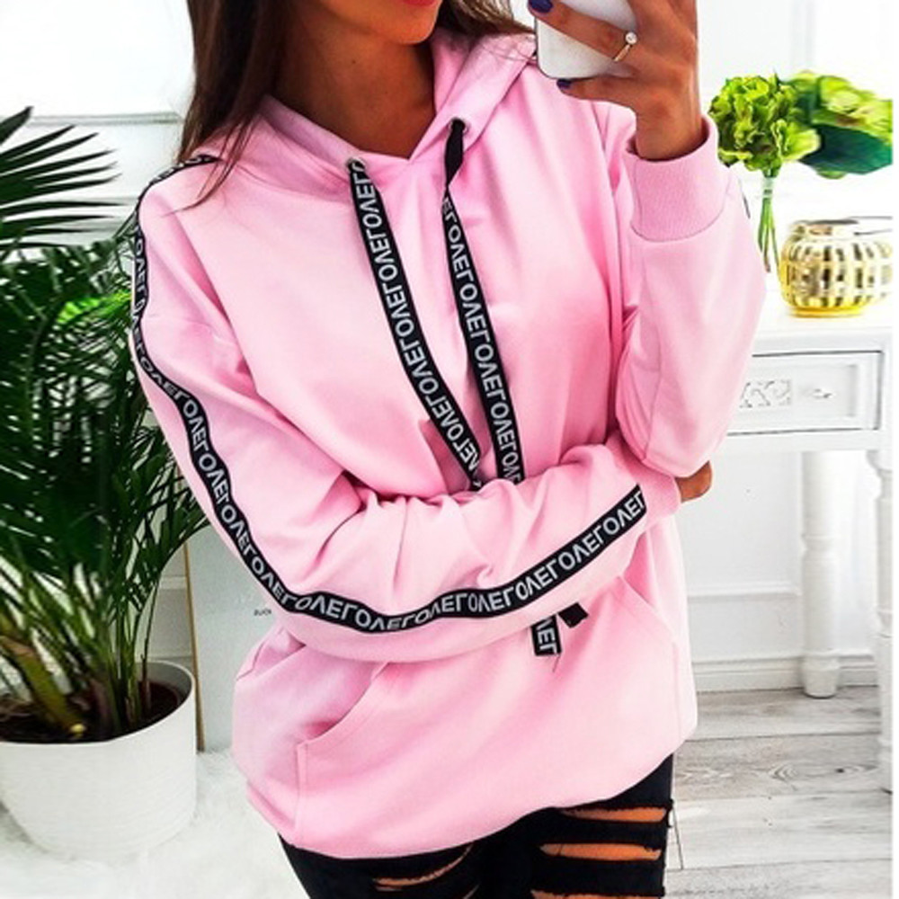 Letter Strap Hoodie Women Sweatshirt Long Sleeve Hooded Pullover Tops Loose Casual Pocket Hoodies Lady Plus Size 5XL Bts  Exo