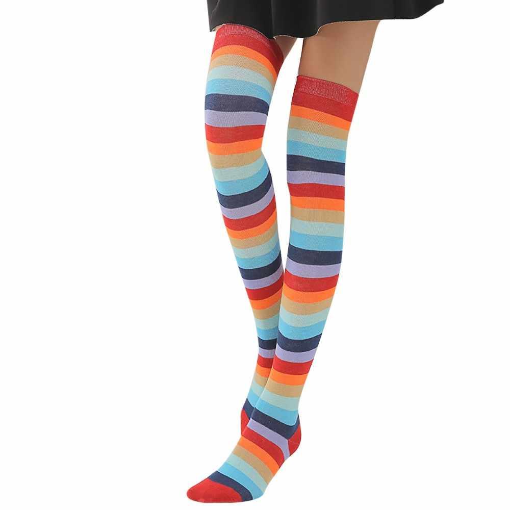 Vrouwen Regenboog Winter Warm Kabel Lange Boot Sokken Over De Knie Dij Hoge Kousen Gestreepte Anti-Wrijving Stretch Casual Kousen