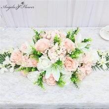 Rangée de fleurs artificielles pour table de conférence, 90CM, fausses feuilles de lys, d'hortensia, pour un mariage, pour un centre de table