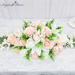 90CM Artificial flower conference table flower row rose lily hydrangea leaf wedding party decor table centerpieces flower runner
