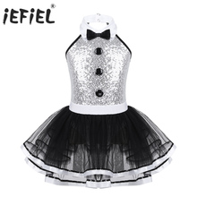 Kids Girls Ballroom Dance Costume Dancewear Shiny Sequins Mesh Decorative Button Ballerina Dance Gymnastics Leotard Tutu Dress