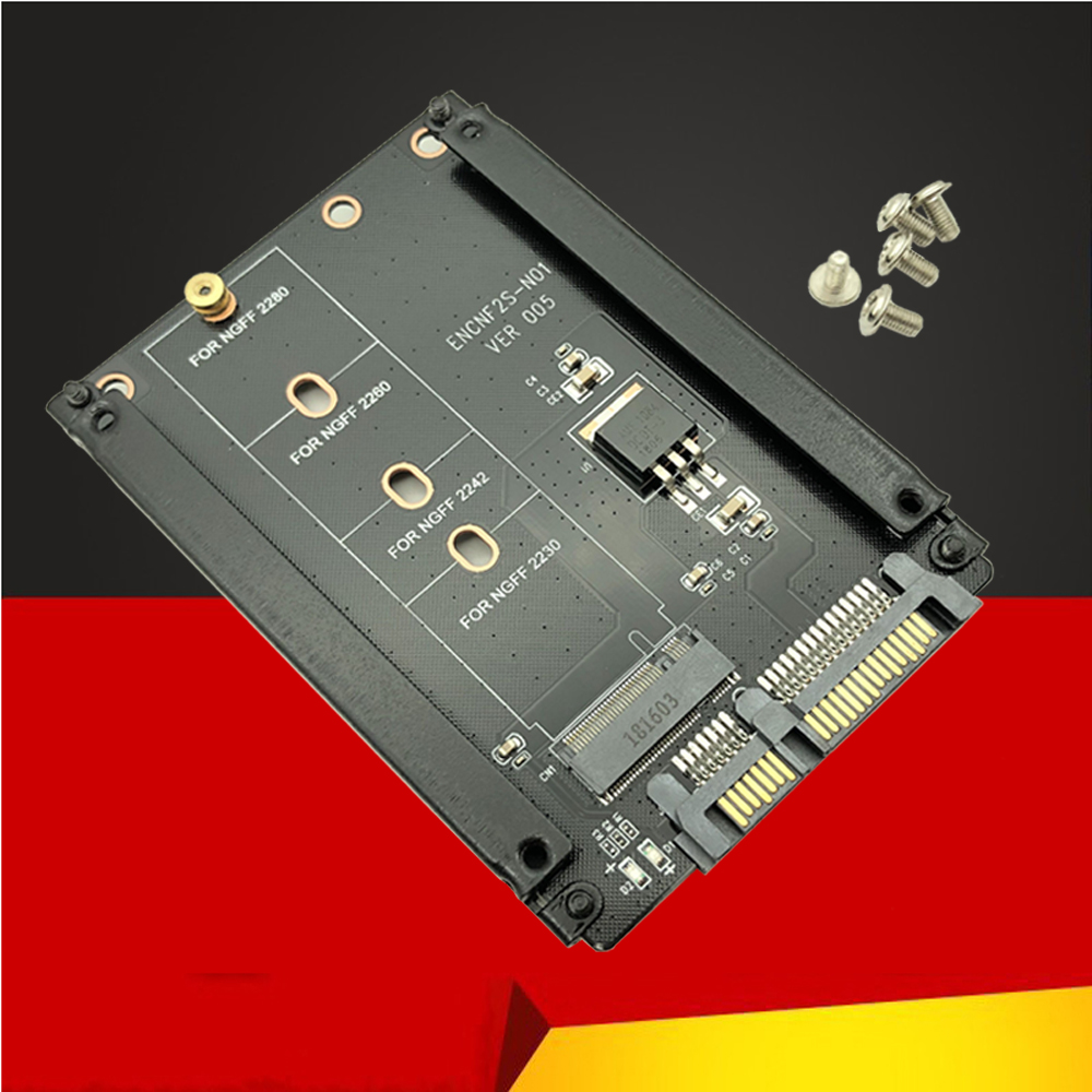 Metal Case B+M Key M.2 NGFF SSD To 2.5 SATA 6Gb/s Adapter Card With Enclosure Socket M2 NGFF Adapter W/ 5 Screw M.2 SATA Adapter