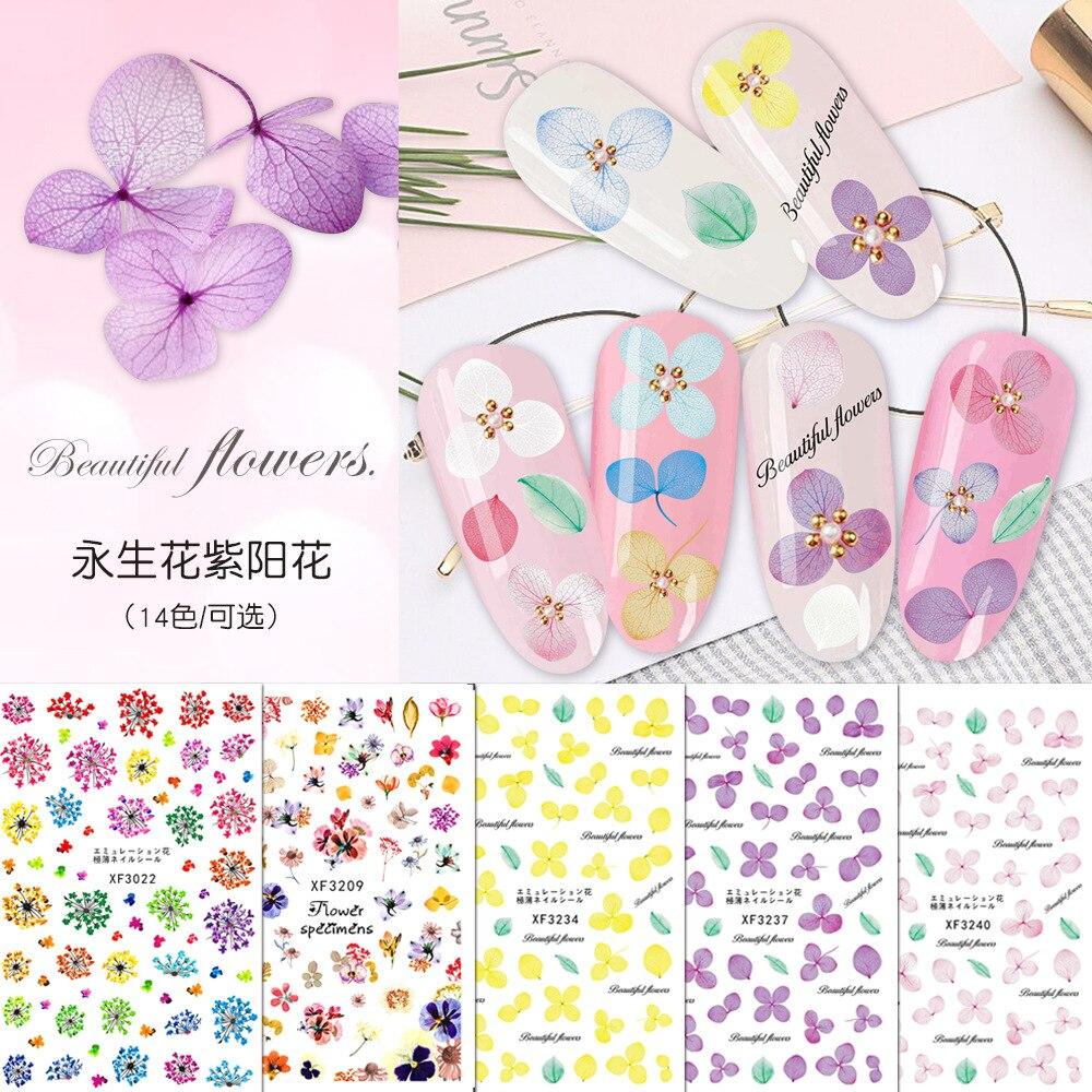 Dried Flower Nail Sticker Preserved Fresh Flower Narcissus Hydrangea Faux Dried Flower Hyuna Nail Sticker Nail Sticker
