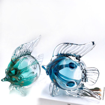 Creative Crystal Lucky Fish Statue Animal Art Sculpture Handwork Luxurious Glass Craft Modern Home Decorations Ornament R4712
