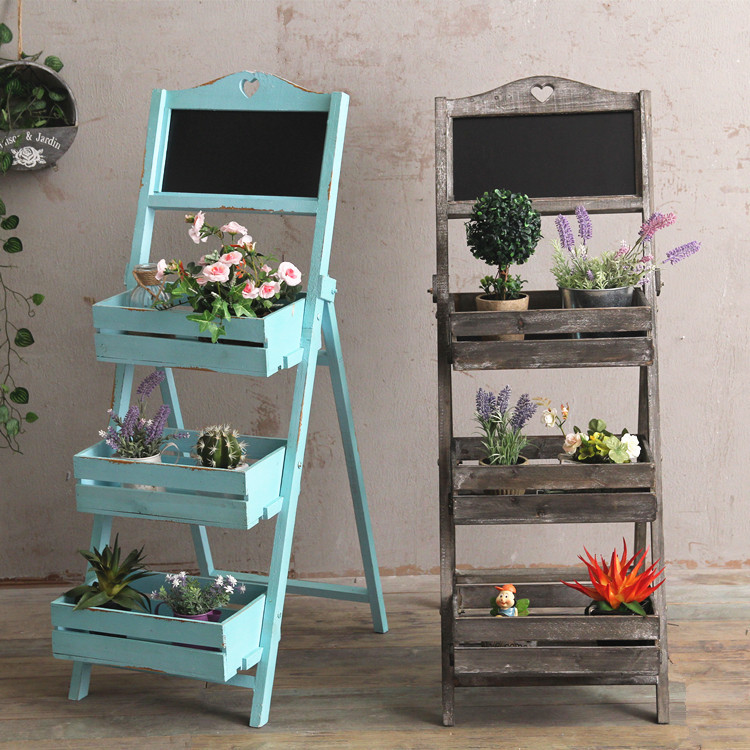 Wood Plants Stand Outdoor Indoor Ladder Shelf With Blackboard Garden Stand Planter Flower Rack Balcony Decoration Home Bar Decor