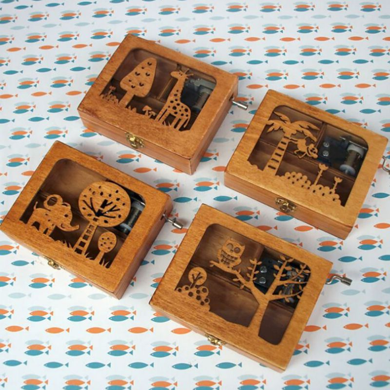 Wood Mini Music Funny Shape Box DIY Wooden Exquisite Animal Mechanical Hand Crank Craft Music Box Movement Gift