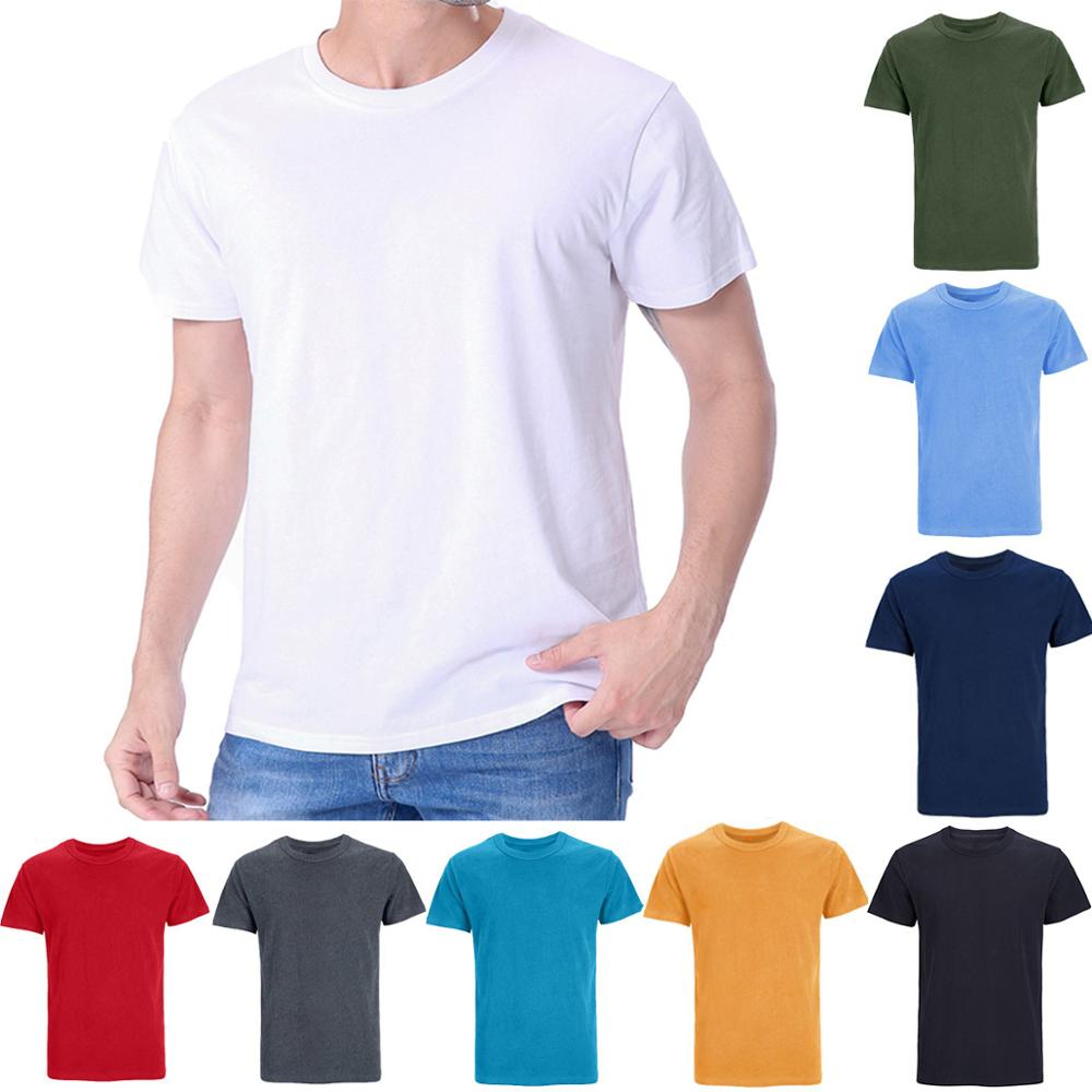 Mens Heavyweight Heavy Cotton Thick Plain Solid 190-260g T-Shirts Casual Basic Soft Sport Tee Top Undershirt For Adult