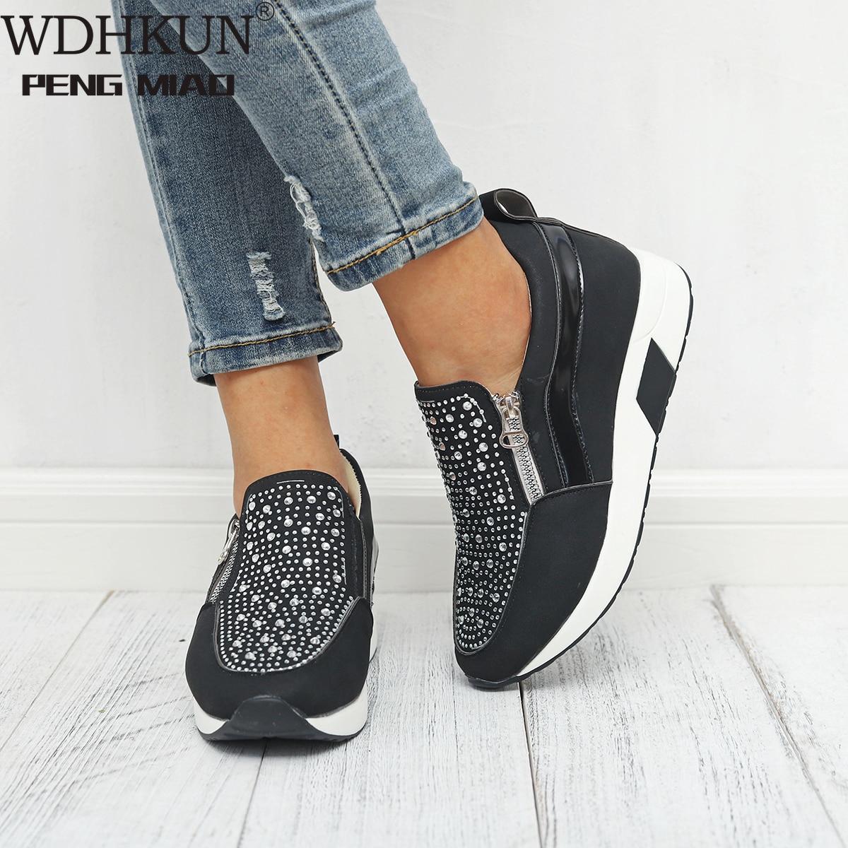 WDHKUN Sneakers 2019 Women Shoes High Black White Pink Women Sneakers For Women Outdoor Sports New Rhinestone Female Sneaker