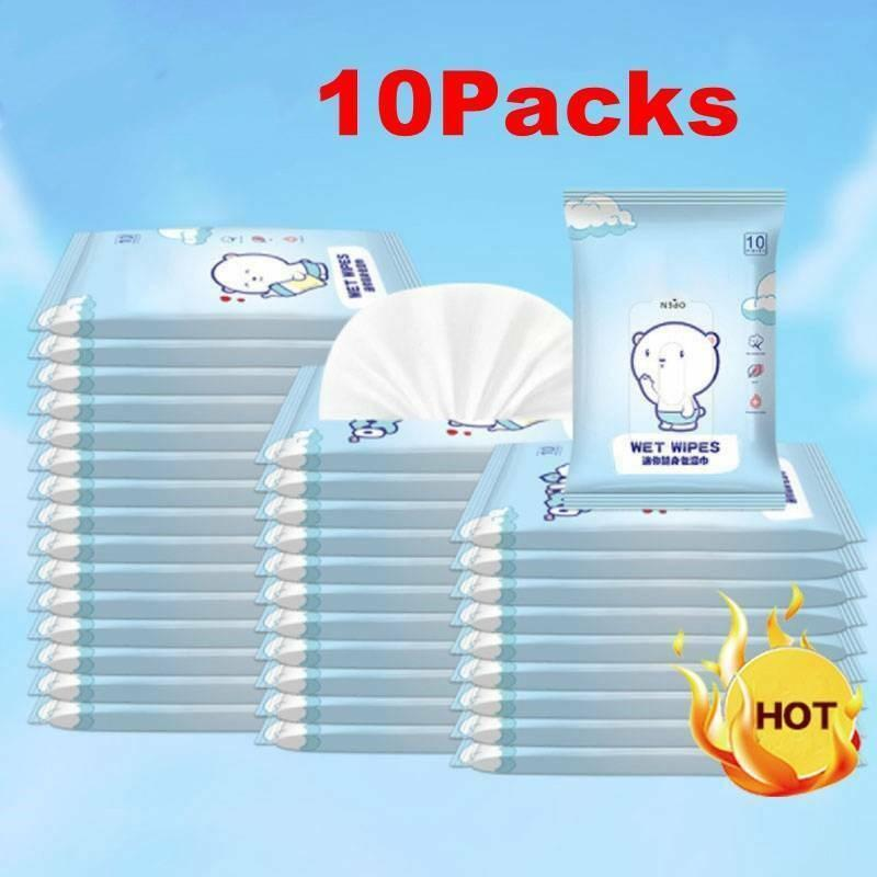 10 Packs Flushable Toilet Wipes Portable Safe Hand Cleaning Baby Moist Paper Wet Wipes Skin Cleaning Care Sterilization
