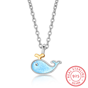 New Creative Sweet Cute Animal Exquisite 925 Sterling Silver Jewelry Blue Epoxy Whale Fish Female Gift Pendant Necklaces H369 image