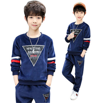 Autumn Winter Baby Boys Clothing Sets Kids Casual Letter Thicken Velvet Sweatshirt+Pants Sets Children Sports Boutique Clothes 6p510 wholesale baby kids boutique clothing lots