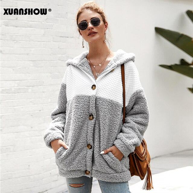 XUANSHOW 2019 Kış Kadın Coat Kapşonlu Gevşek Moda Uzun Kollu Kabarık Splice Kadın Üst Hoodies Sıcak Giysiler Tutmak S XL