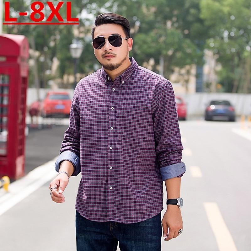 New Plus Size 8XL 7XL  6XL Plaid  Men's Shirt Long Sleeve Shirt Mens Dress Shirts Brand Casual Fashion Business Style Shirts
