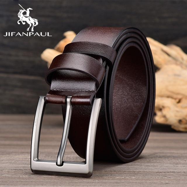 JIFANPAUL бренд подлинный мужской модный кожаный ремень сплав Материал Пряжка Бизнес Ретро Мужские джинсы дикие ремни высокого качества - Цвет: JF03 3.8CM Coffee