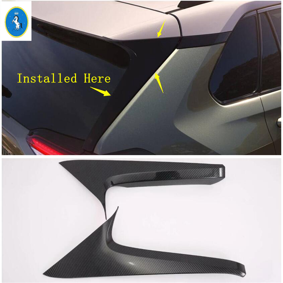Yimaautotrims Auto Accessory Rear Tail Spoilers Window Wing C Column Pillar Cover Trim For TOYOTA <font><b>RAV4</b></font> RAV 4 XA50 2019 <font><b>2020</b></font> ABS image