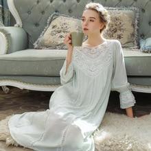 Frauen Nachtwäsche Prinzessin Schlaf Rock Lang Hülse Spitze Kleid Französisch Gericht Baumwolle Retro Viktorianischen Nachthemd Elegante Romantische