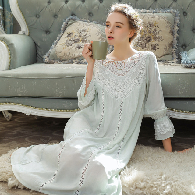 Women Sleepwear Princess Sleeping Skirt Long Sleeve Lace Dress French Court Cotton Retro Victorian Nightgown Elegant Romantic