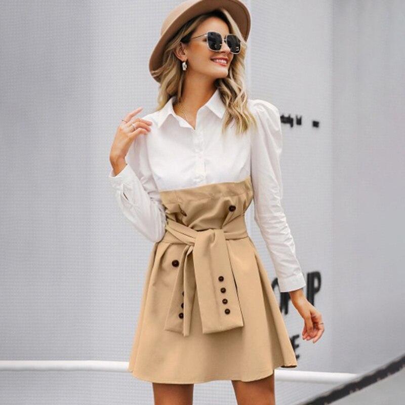 Women Patchwork Shirt Dress A Line Fake Two Piece Belt Tunic Female Dresses Turn Down Collar 2020 Spring Autumn Ladies Vestidos