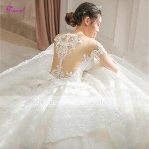 Image 4 - Fsuzwel великолепные свадебные платья трапециевидной формы с кружевной аппликацией и длинным шлейфом 2020 роскошное свадебное платье с бисером и глубоким вырезом Vestido de Noiva