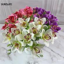 20 sztuk wysokiej jakości sztuczne kwiaty orchidei sztuczne kwiaty magnolii dekoracja ślubna do domu jedwabne kwiaty wystawa wewnątrz budynku kwiat orchidei tanie tanio 190614