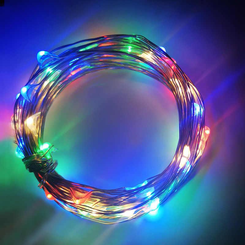 الجنية LED سلسلة الشظية سلك أضواء 1M 2M 3M 5M 10M 12M الديكور عطلة عيد الميلاد شجرة في الهواء الطلق الطوق مرنة الشريط أضواء