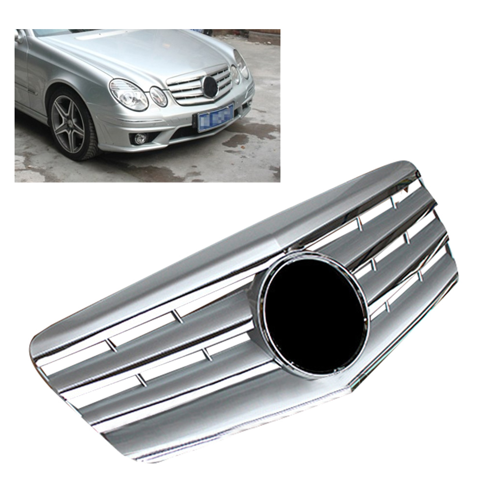 Amg Style Car Front Grille Upper Grill For 2007 2008 2009 Mercedes Benz E Class W211 E320 E350 E500 Abs Plastic Chrome Silver Racing Grills Aliexpress