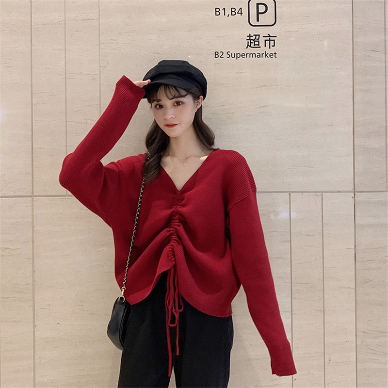 Focal20 Streetwear Drawstring Solid Women Sweater Top Loose V Neck Female Pullovers Jumpers Oversize Autumn Lady Sweaters Tops 3