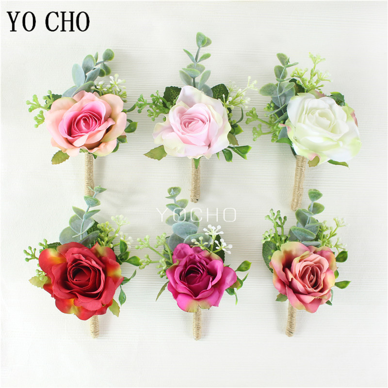 YO CHO Wrist Corsage Men Boutonniere Girl Bracelet Groom Brooch Pins Wedding Corsage Bridesmaids Wristbands Silk Rose Flower