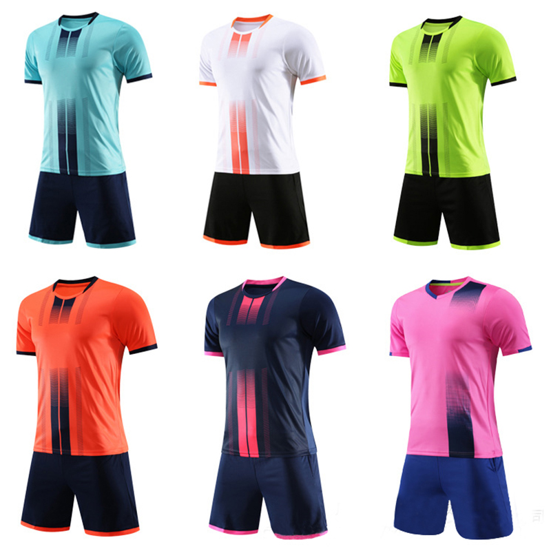 19 Children Football Jerseys Men Boys Soccer Clothes Sets Short Sleeve Kids Football Uniforms Adult Kids Soccer Tracksuit Jersey