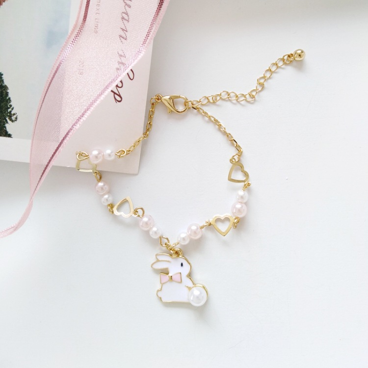 Ins Hot Cute Bangle Rabbit Heart Bracelet Women Charm Party Jewelry Accessories Female Glamour Fashion Jewelry Jewelry Gift in Chain Link Bracelets from Jewelry Accessories