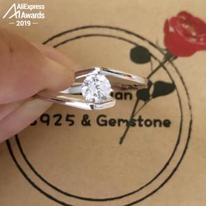 Image 4 - Ronde Cut 1*5Mm S925 Sterling Zilveren Ring Sona Diamond Solitaire Fijne Ring Unieke Stijl Liefde Bruiloft Engagement
