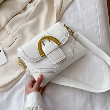 Belt Buckle Small PU Leather Crossbody Bag For Women 2020 Summer Simple Style Shoulder Handbags Female Cross Body Bag