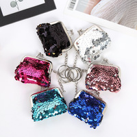 1PCS Kids Bling Mini Coin Purse Fashion Women Girls Sequin Key Chain Coin Money Small Wallet Pocket Bag Pouch Gift