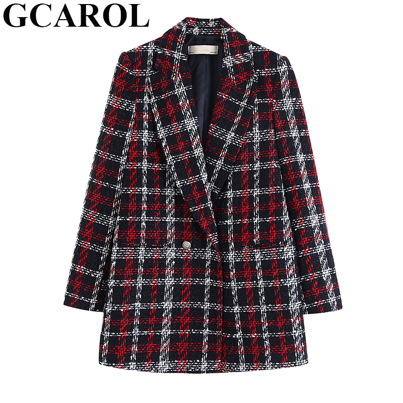 GCAROL Women Twist Tweed Plaid Blazer Double Breasted Checked Jacket Buttons Thick Warm Elegant Suit Coat Fall Winter Outwear