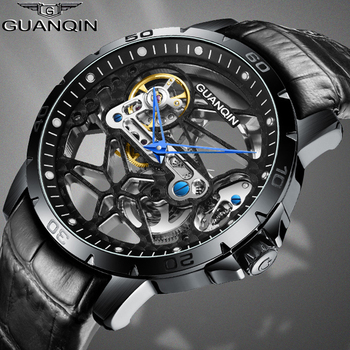 GUANQIN automatic skeleton watch mechanical mens watch top luxury men's business watch Waterproof Tourbillon clock men watches kinyued luxury brand tourbillon automatic skeleton watch men mechanical moon phase self wind mens watches casual horloges mannen