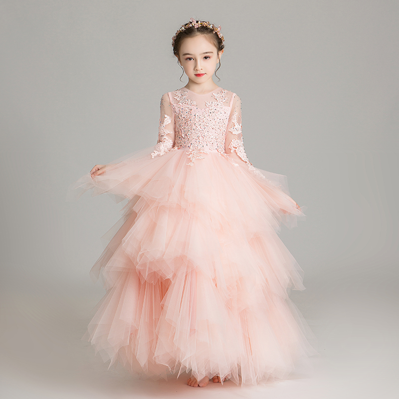Elegant Pink Tulle Flower Girl Dress for Wedding Beads Long Lace Princess Party Prom Evening Dress Kids First Communion Clothes