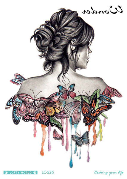 Rocooart Big Water Color Butterflies Temporary Tattoo and Women's Backs Pattern Body Art Arm Tatto Fake Waterproof Flash Tattoo