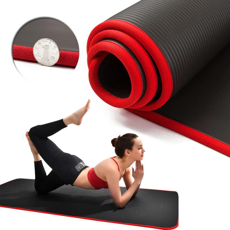 Extra Thick 10mm Yoga Mat 183*61cm Men Women Fitness NBR Non-slip Soft Mat Tasteless Gym Household Exercise Pilates Yoga Mat